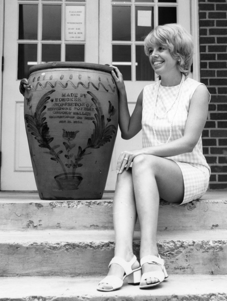 One of Beverly Burbage's favorite photographs showing Mrs. Judy Derby and Charles Sr.'s 30 gallon jar which is owned by the Carroll Reece Museum c 1970. Seen in the Tennessee Conservationist. Burbage3.