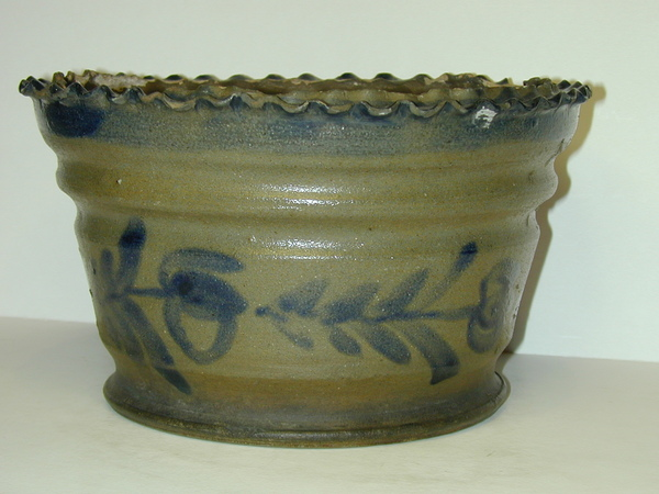 Cobalt decorated flower pot with a pie crust shaped rim. ai13.