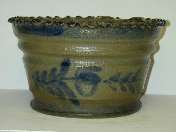 Cobalt decorated flower pot with crimped rim. ai22.