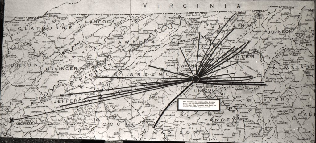 Marketing distribution map from an early exhibit. The caption reads: This map shows the location of the Keystone Pottery and the pottery distribution points for the upper Tennessee area during the period of May 1886 – September 1889. Burbage18.