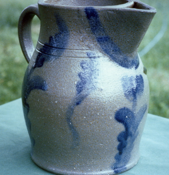 Unusual cobalt decorated pitcher with inset strainer. Burbage19.