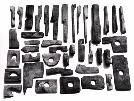 Display of Decker pottery wooden tools, largely from Paul Fink's collection. Burbage21.