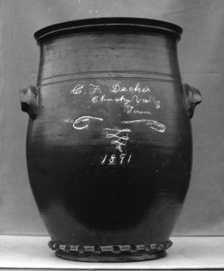 Large jar incised C. F. Decker Chucky Valley Tenn 1891. Burbage24.